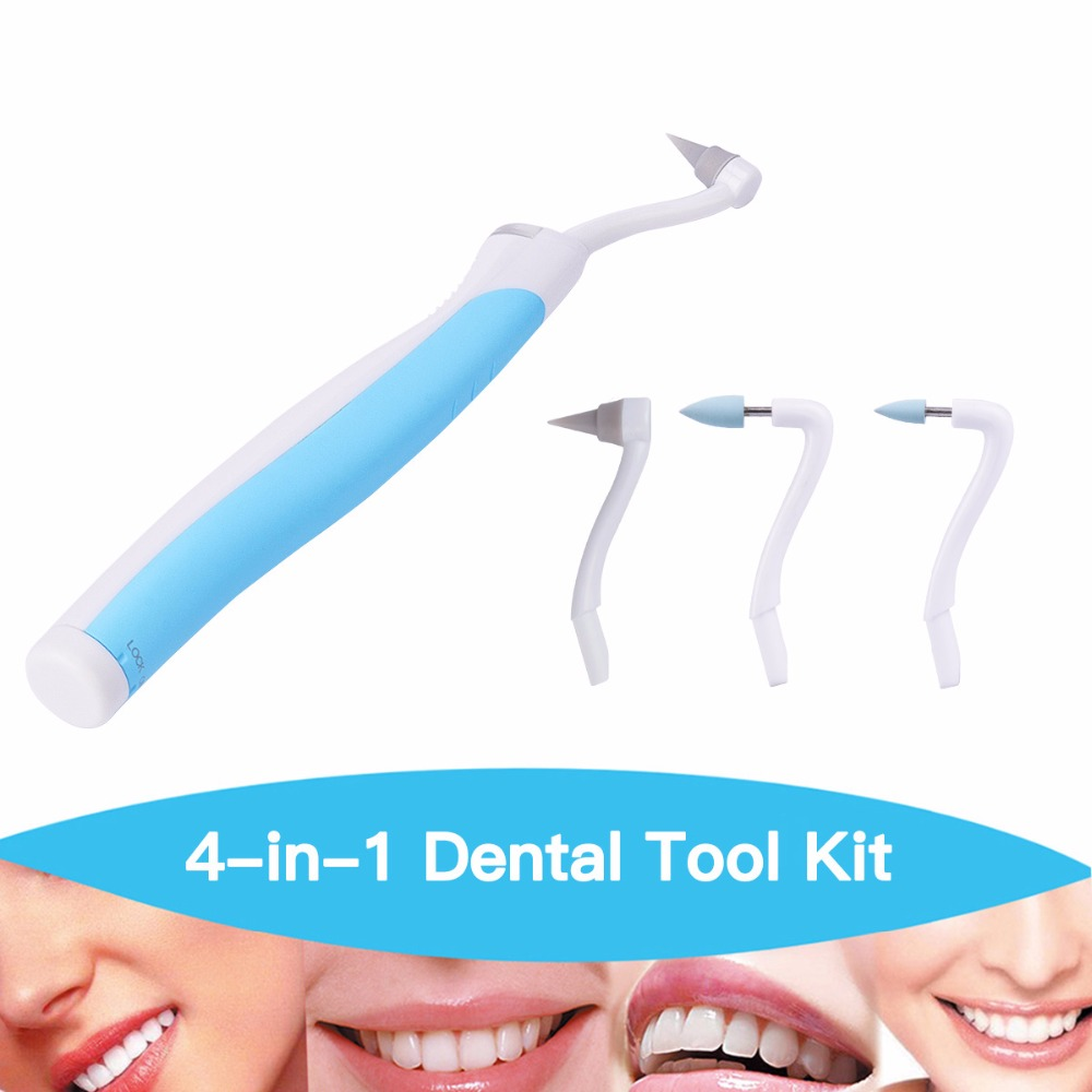 1 set 3 heads Teeth Whitening Sonic Vibration LED Light Dental Pick Stain Eraser dentist tool Kit remove tartar gums massage S37