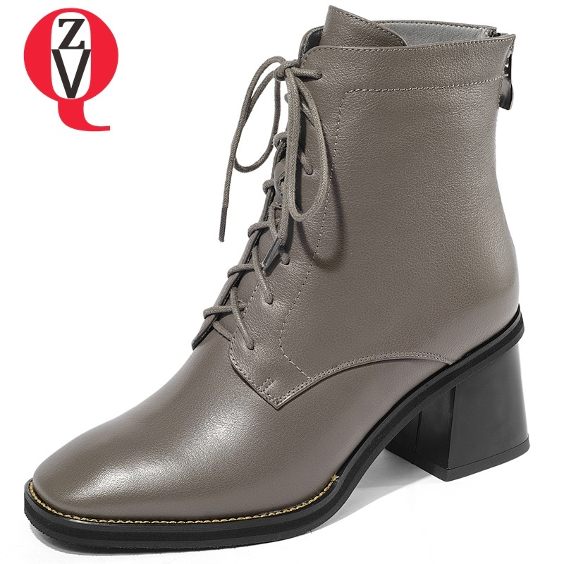 ZVQ 2018 new concise square toe zip cross-tied high square heel black and grey genuine leather ankle boots outside women shoes concise women s satchel with double zip and pu leather design