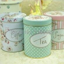 Европейский Винтажный Цветочный Железный чехол для сахара, цветочный чай, конфеты, кофе, жестяная коробка для хранения, круглая коробка, контейнер