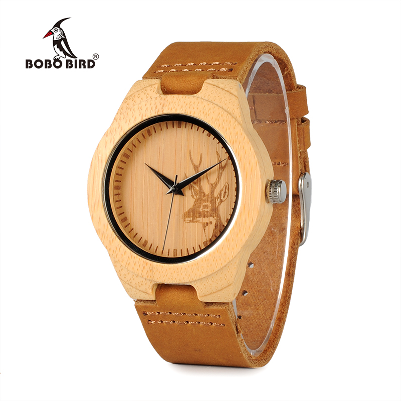 BOBO BIRD WF29 Elk Deer Styles Bamboo Wood Watches Hot Women's Luxury Brand Leather Band Wooden Wristwatches Wooden Box OEM bobo bird top brand mens bamboo wooden elk deer wolf head watch quartz real leather strap men watches with gift box