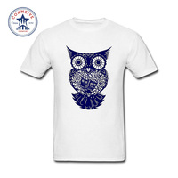 2017 New Summer Funny Tee blue Owl Cotton T Shirt for men