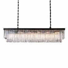 KINLAMS Lustre rectangulaire en cristal, design moderne, montage sur semi encastré, éclairage dintérieur, luminaire décoratif de plafond, idéal pour un salon