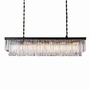 Image 1 - KINLAMS Modern Rectangular Lustre Crystal Chandelier Light Semiflush Mount Crystal Chandeliers Lighting Fixtures For Living Room