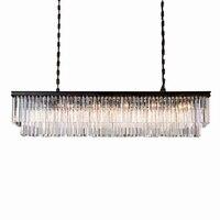 KINLAMS Modern Rectangular Lustre Crystal Chandelier Light Semiflush Mount Crystal Chandeliers Lighting Fixtures For Living Room