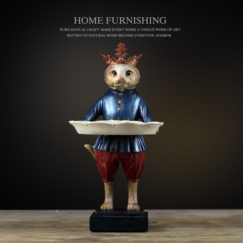 Creativo gatto della resina Dei Monili del piatto vintage statua della decorazione della casa artigianato decorazione della stanza oggetti in resina figurine di animali titolare gioielli