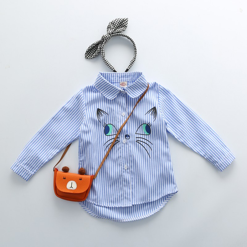 цена на Children Fashion Kids Boys Girls Tops Long Sleeve Clothes Shirts Lapel Embroidery Cute Baby Clothing