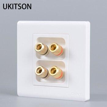 Blanco puro enchufe de pared panel brillante chapado en oro binding 4 Conectores para el altavoz de audio Banana plug socket conector terminal