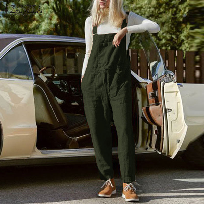 S 5XL ZANZEA 2019 Women Work Ovaralls Jumpsuits Casual Solid Long Wide Leg Pants Strappy Cotton Suspender Rompers Femme Playsuit