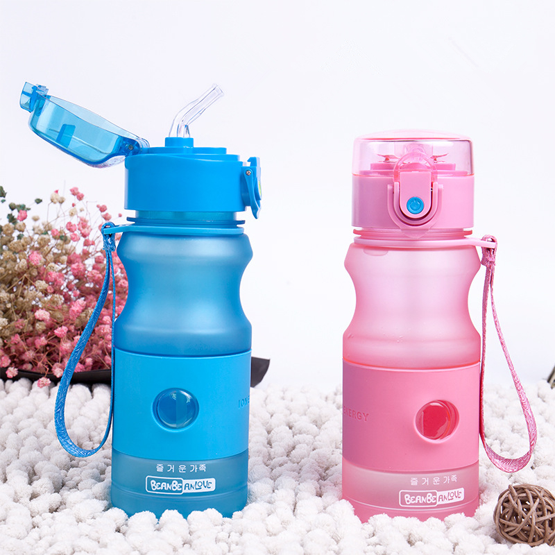 Kids Sports Travel School Using 420ML Leakproof Bottles Portable Children Plastic Water Bottle Baby Health Straw Bottles