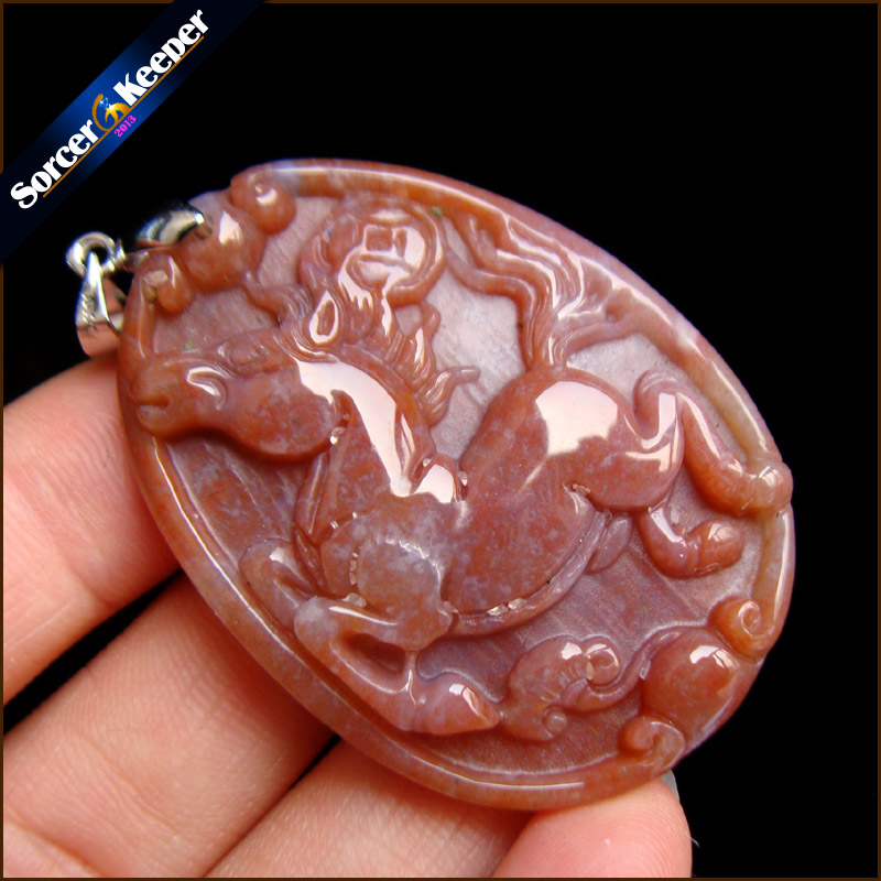 Real Hand-carved Horse Natural Agates Stone Lucky Amulet Pendant Beads Necklace For Women Men Fashion Charm Jewelry SS942