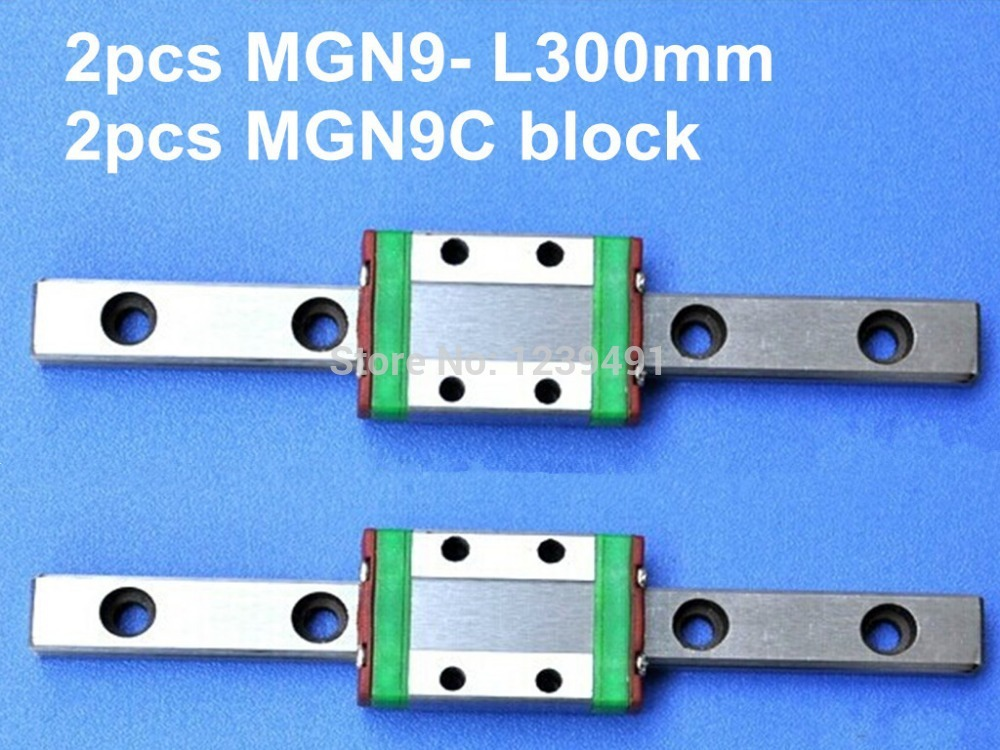 2pcs 9mm linear rail guide MGN9 300mm with mini MGN9C block