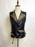 Мода оригинальный дизайн nightbar певец DJ Прохладный Золотой Armour заклепки Зеркало локомотив кожаный жилет костюмы