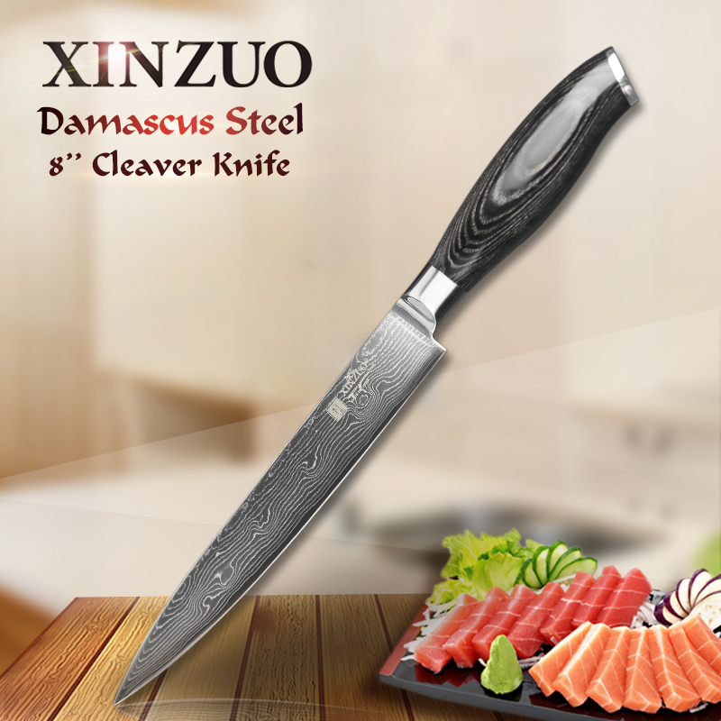8 inch XINZUO cleaver knife 73 layers Damascus steel kitchen knife VG10 meat Sashimi knife with