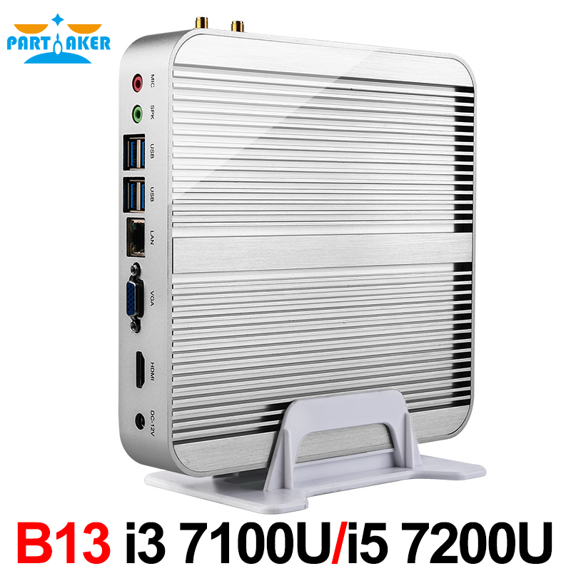 In Stock! Intel Core i5 7200U i3 7100U 7th Gen Kaby Lake Win10 Fanless Mini PC 4K HTPC Fanless Nuc Intel HD Graphics 620