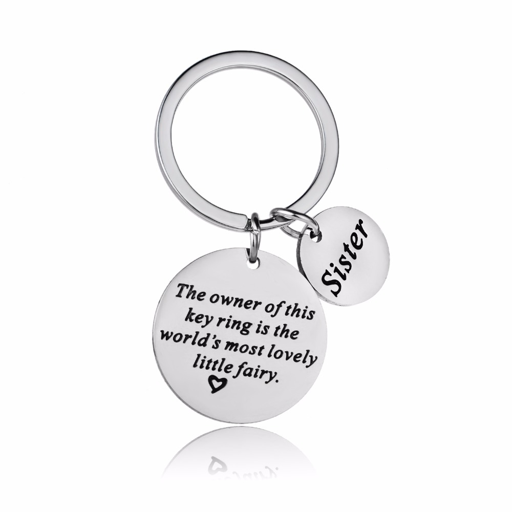 12PCLot Family Sis Sister Keychain Gifts Stainless Steel Keyring For Women Girls Femme Key Chain BFF Friends Key Ring Presents