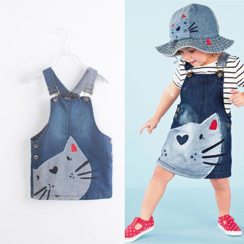 Hot sale 2015 new arrival Baby Girls Kids Cat Denim Overalls Dress Braces 2-7 Yesrs