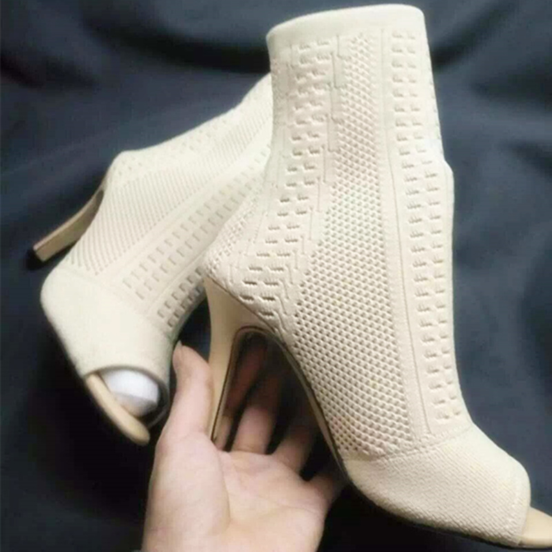 Slip-on Hollow out Women Ankle Sandal Boots Sexy High Heel Women Pumps Fashion Pointed Toe Thin Heels Shoes Female Zapatos Mujer cicime women s heels thin heel spikes heels solid slip on wedding fashion leisure casual party dressing high heel platform pumps