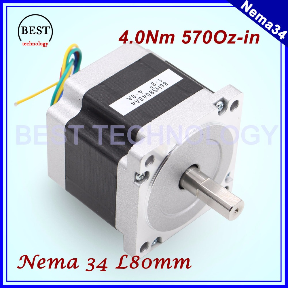 Nema 34 cnc stepper motor 86x80mm 4n m 4a d14mm nema34 for Nema design b motor