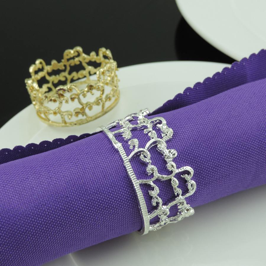 20pcs Crown Lace SilverGold Plated Napkin Ring Serviette