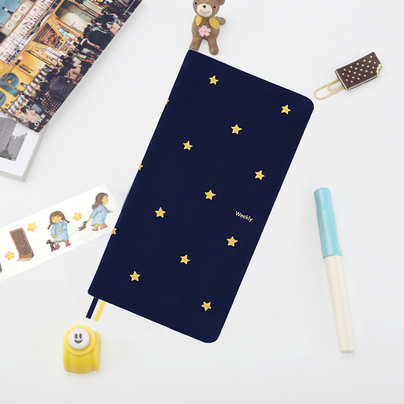 Blue Good Night Cloth Week Plan Schedule Notebook Portable Embroidery Bullet Journal Stationery Papelaria good night good knight