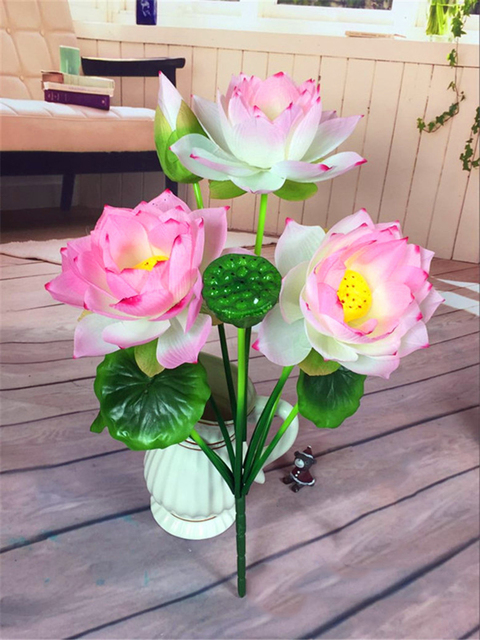 In stock silk flower real touch flowers large pink lotus artificial in stock silk flower real touch flowers large pink lotus artificial flowers for home living office mightylinksfo Images