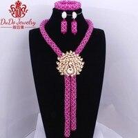 Fuchsia Hot Sale Pink African Nigerian Women's Beads Turkish Antique Jewelry Choker Indian Dubai Design Necklace Set 2017