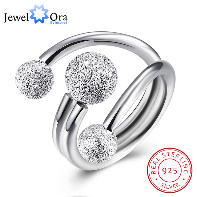 Surround Design Ball Adjustable Ring Solid 925 Sterling Silver Jewelry Women Rin