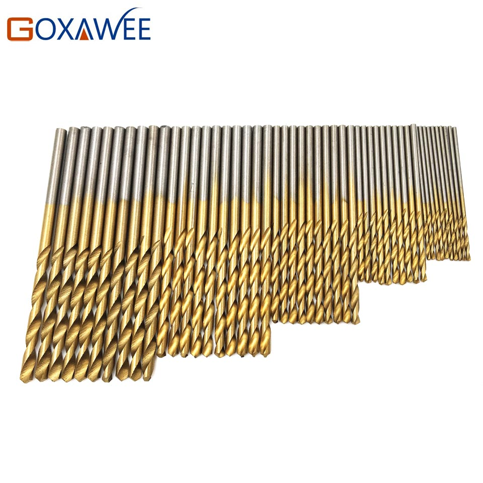 GOXAWEE 50Pcs Mini HSS Twist Drill Bit Set HSS High Steel Titanium Coated Drill Woodworking Wood Tool 1/1.5/2/2.5/3mm For Metal 15 pieces titanium coated hss twist drill bit set with 1 4 hex shank for wood metal power tool 3 0 5 0mm black hemp screw drill