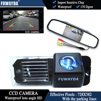 FUWAYDA Color CCD Chip Car Rear View Camera for VW Volkswagen Polo V (6R)/ Golf 6 VI/ Passat CC+4.3 Inch rearview Mirror Monitor