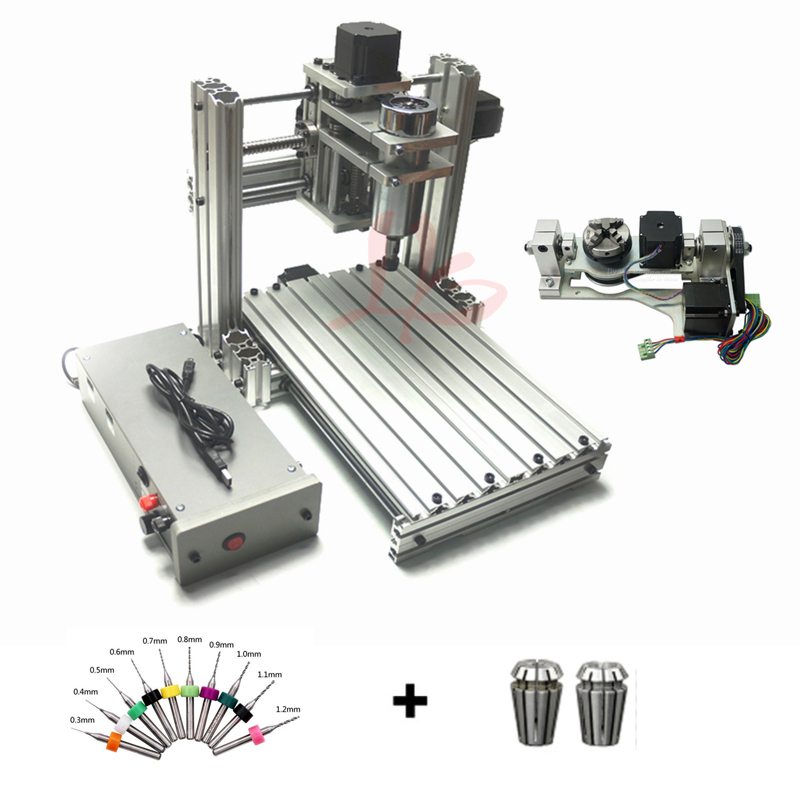 5 Axis CNC Router DIY Mini 4020 Metal 3 Axis CNC Machine, 4 Axis Milling Machine For PCB With Software Mach 3