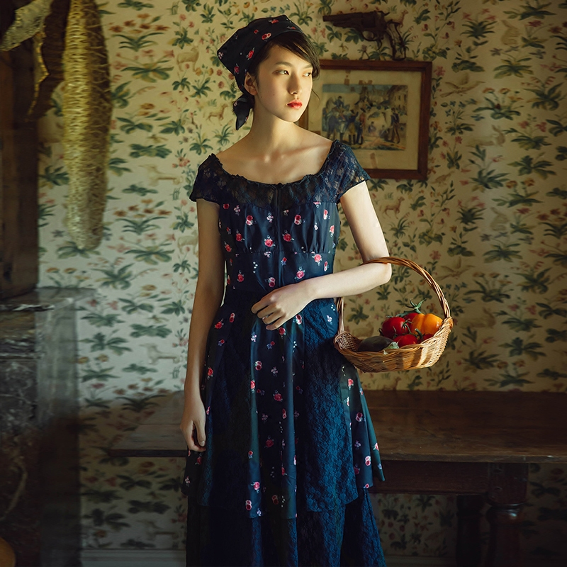 French Country Clothing Part - 28: UP007 Original Design Summer 2016 Vintage French Country Style Lace  Patchwork Navy Blue Floral Dress Women-in Dresses From Womenu0027s Clothing U0026  Accessories On ...