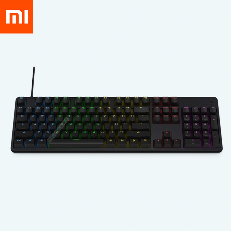 Original Xiaomi Gaming Keyboard 104 Keys Key Without Punch LED Backlit Backlight USB Wired Aluminum Alloy