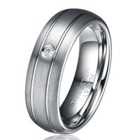 7MM WEDDING BAND TUNGSTEN CARBIDE RING FASHION MEN WOMEN JEWELRY WITH CUBIC ZIRCON STONE SIZE 7