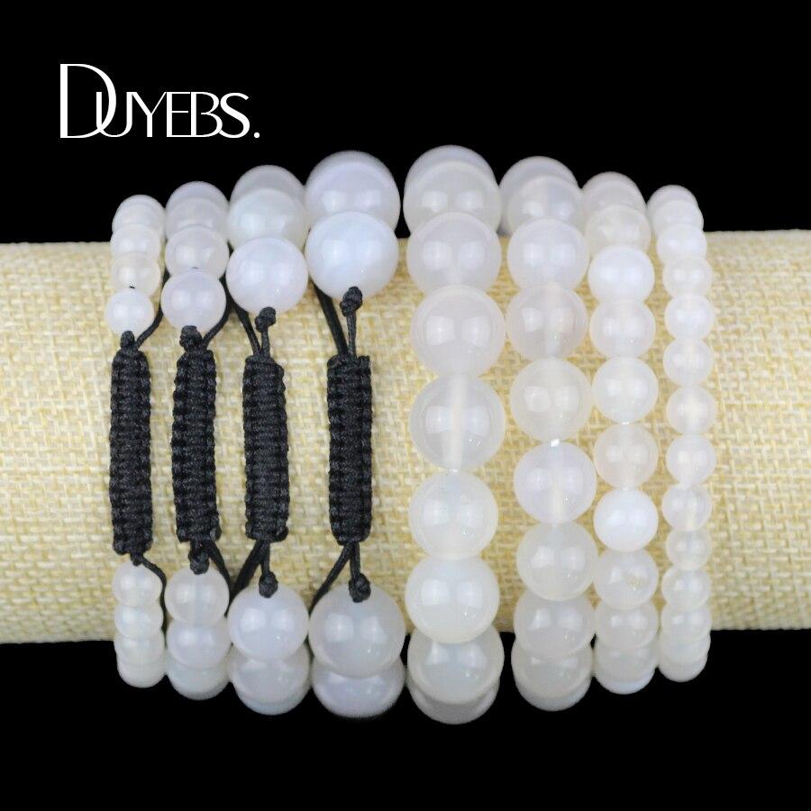 DUYEBS Natural Stone White Carnelian Men Bracelet Charm 6/8/10/12MM Beads Braided/Elastic Rope Women Bangle Fashion jewelry Gift