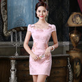 2016 summer women vintage plus chinese short traditional cheongsam dress gold velvet half sleeve elegant qipao red