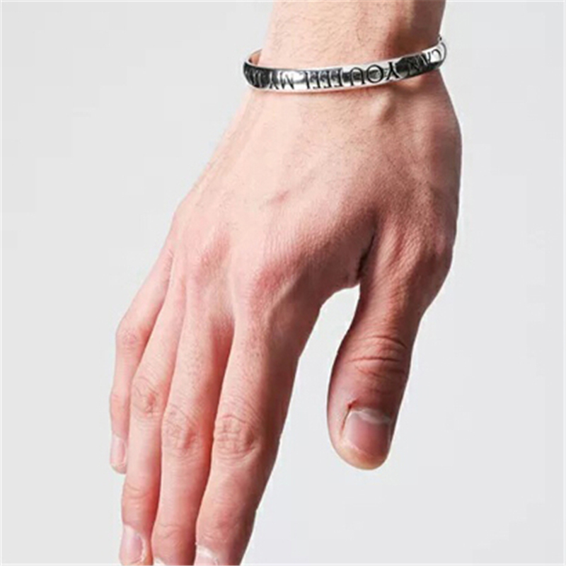 Cute Love Bangle CAN YOU FEEL MY LOVE Silver Adjustable Bracelet ...