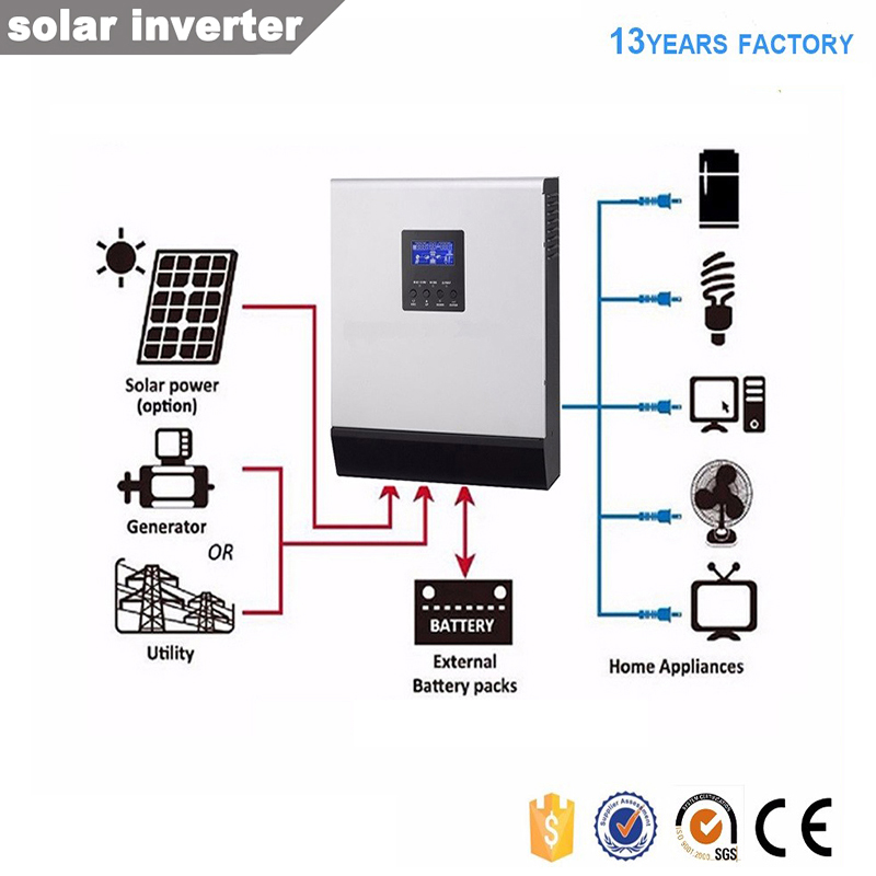 3KVA 2400W Off Grid Hybrid Solar Power Inverter Converter With Solar Charge Controller PWM 50a/MPPT 25A/MPPT 60A/AC Charger
