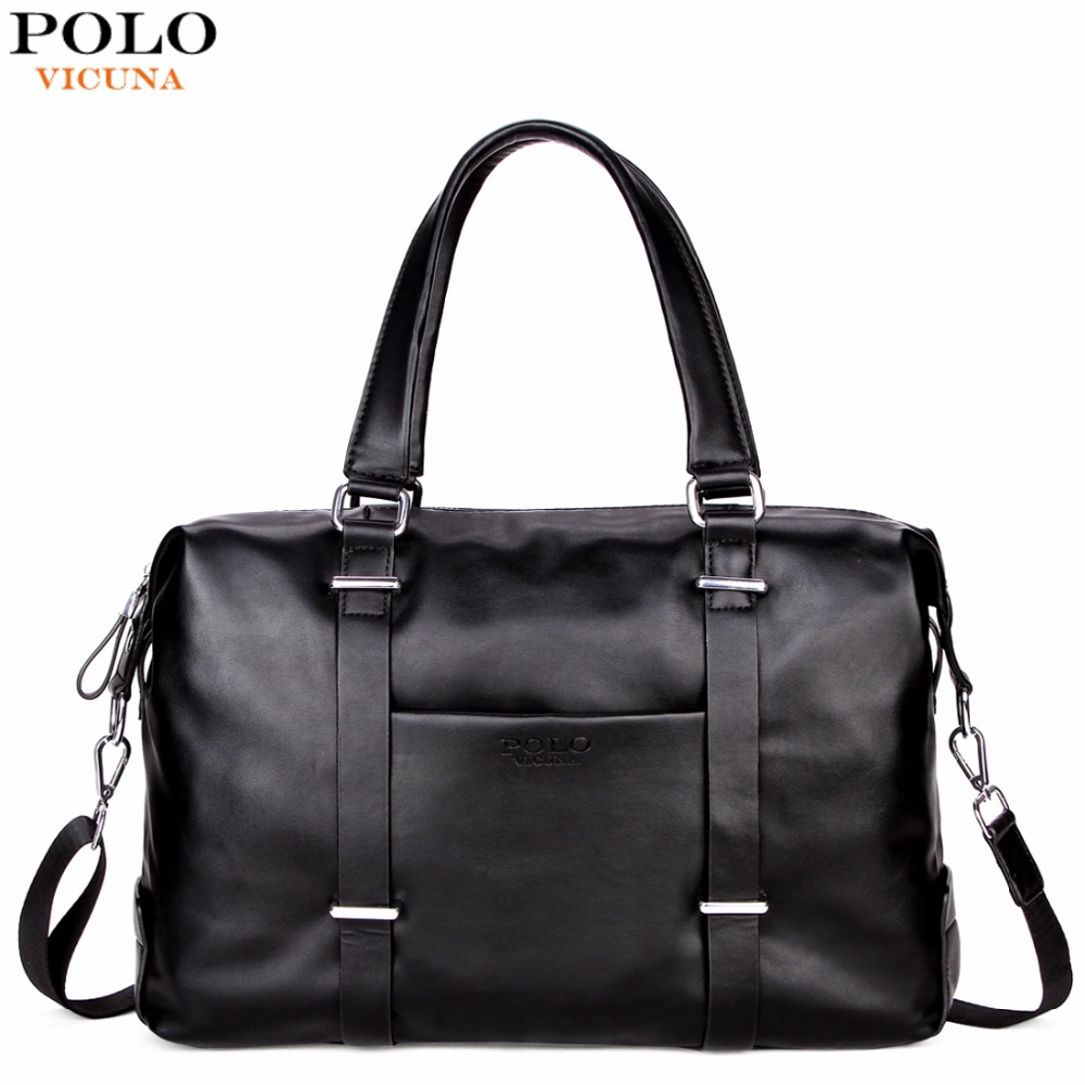 VICUNA POLO Men Travel Duffle Bag PU Leather Men's Travel Bags Black Shoulder Handbag Brand Large Capacity Travel Handbag Bolsas