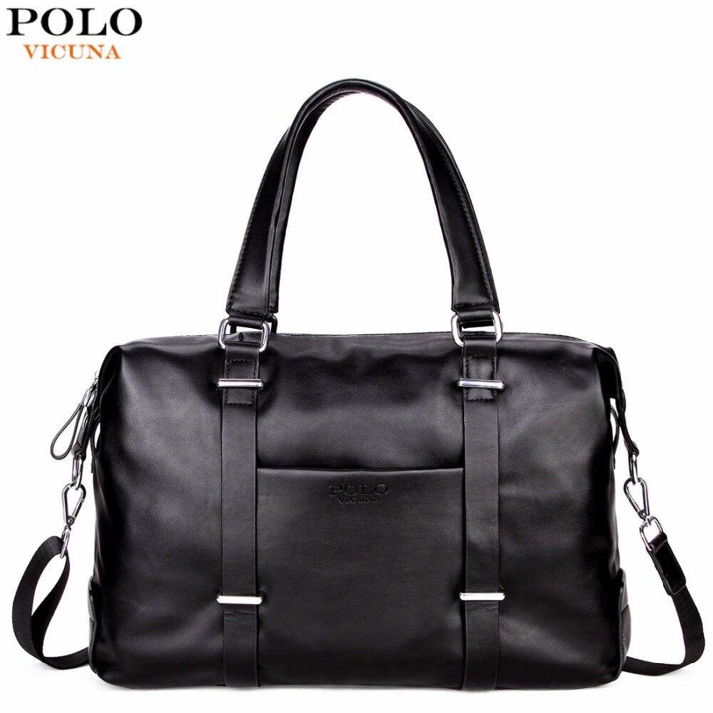 VICUNA POLO Men Travel Duffle Bag PU Leather Mens Travel Bags Black Shoulder Handbag Brand Large Capacity Travel Handbag Bolsas