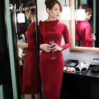 Autumn High-end Pencil Dress Women Long Sleeve Bow Collar Vintage Dress Office Elegant Party Bandage Bodycon Dresses Vestidos