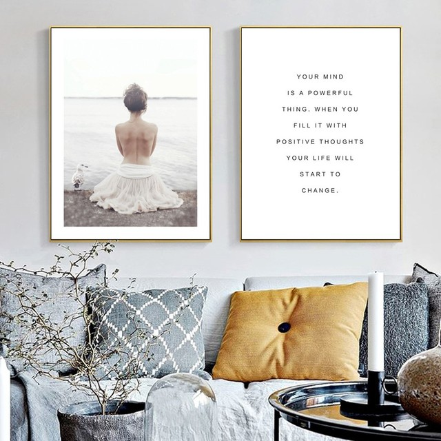 Us 4 68 33 Off Home Decor Painting Modern Simple Beautiful Girl Letter Wall Pictures For Living Room Canvas Painting Nordic Poster And Prints In