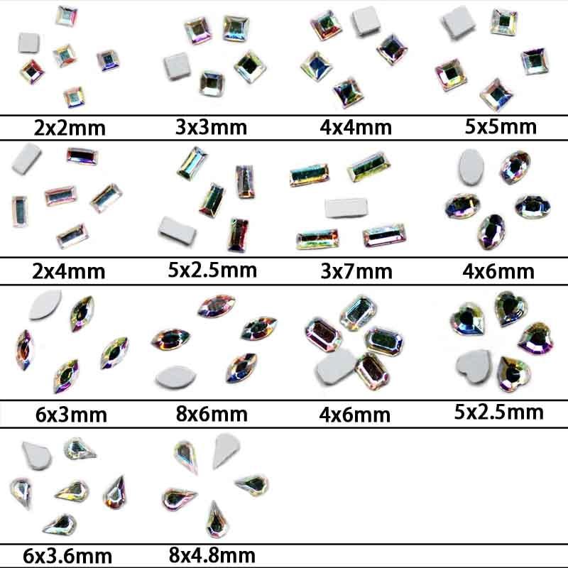 Strass Glass Rhinestones Stones Crystal AB Color 50pcs/bag Ms