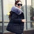 2016 новые поступления зима куртка женщин верхняя одежда с капюшоном куртка вниз хлопка-ватник большой меховой воротник зимнее пальто женщин