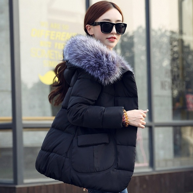 2016 chegadas novas mulheres jaqueta de inverno outerwear parka com capuz para baixo algodão-acolchoado jaqueta grande gola de pele casaco de inverno mulheres