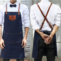 Denim Cowboy Apron Bib Leather Straps Kitchen Apron For Women M House Cooking Restaurant Waitress Apron