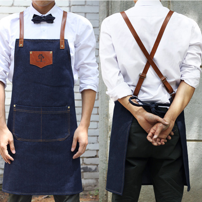 Denim Cowboy Apron Bib Leather Straps Kitchen Apron For