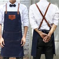 Denim Cowboy Apron Bib Leather Straps Kitchen Apron For Women M House Cooking Restaurant Waitress Apron