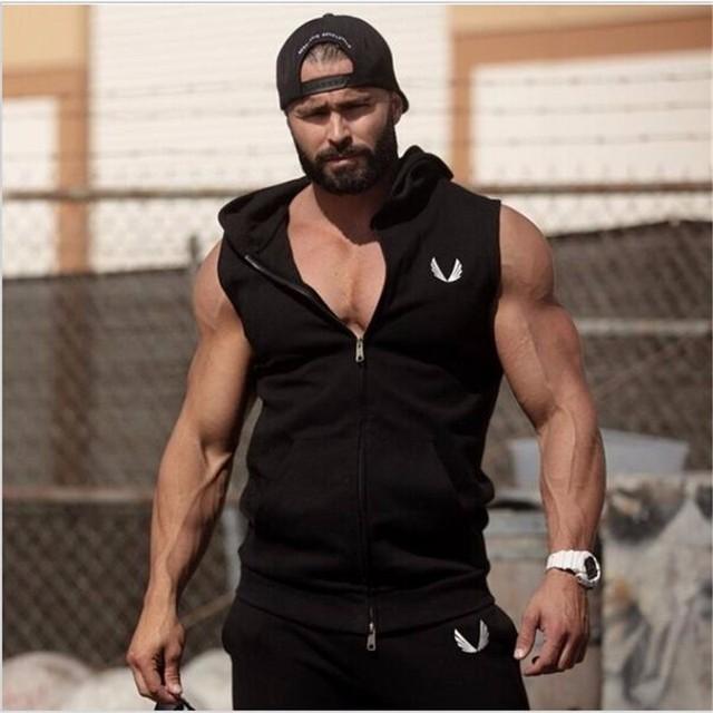 17a68a10240d5f Men Hooded Sleeveless Undershirt Cotton Vest Waistcoat Sleeveless Tank top  Mens Workout Fitness Hoodies Sweatshirts