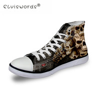 ELVISWORDS Men's Vulcanize Shoes Cool Skull Punk Printing Men Spring Autumn Top Fashion Sneakers Lace up High Style Man Shoes