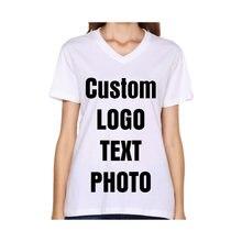 Женская летняя футболка с v образным вырезом принтом логотипа/текста/фото